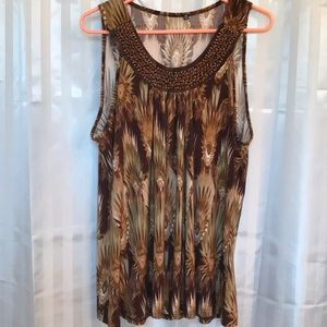 Woman's brown sleeveless bead decorated top 1X